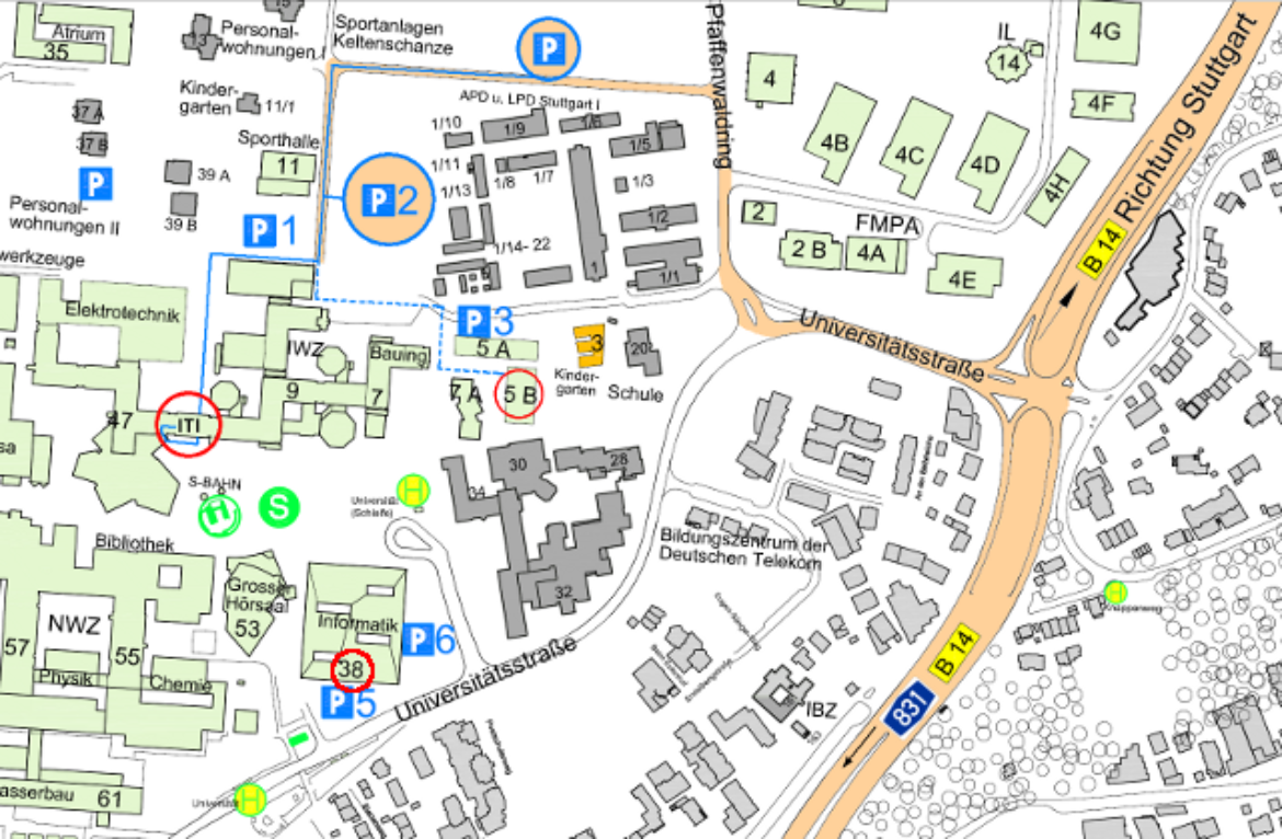 Map of the way from the parking lots to the institute entrance