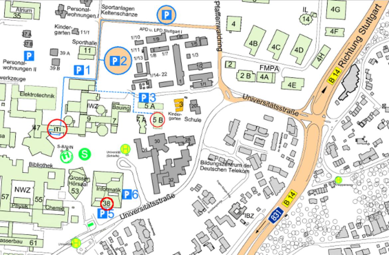 Karte mit dem Weg von den Parkplätzen zum Eingang des Instituts (c)
